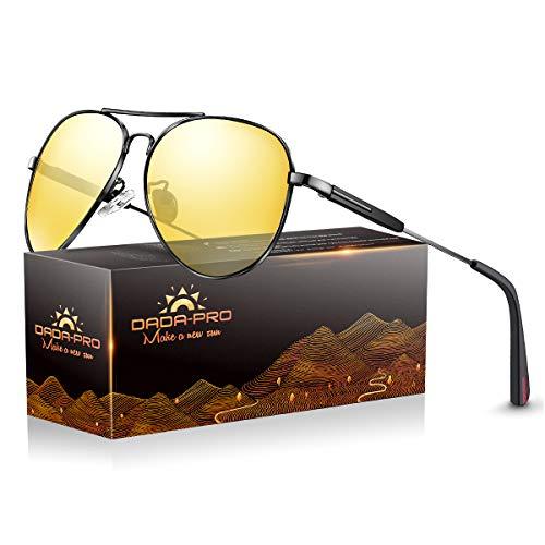 Nachtfahrbrille Auto Polarisiert Herren Damen Autofahren - HD Gelbe Anti Glanz Biker Nachtsichtbrillen Brille Gewidmet Nachtbrille(Pilotenbrille)