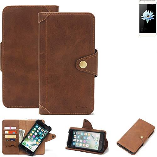 K-S-Trade® Handy Hülle Für Hisense C1 Schutzhülle Walletcase Bookstyle Tasche Handyhülle Schutz Case Handytasche Wallet Flipcase Cover PU Braun (1x)