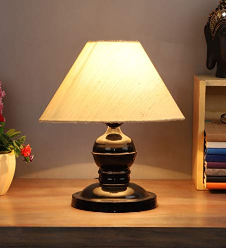 Tu Casa LG-200 - Black Metal Table Lamp with Cotton Fabric Conical Shape- Shade Color (Off White).Holder Type- B-22 (Brass)-(Bulb NOT INCLUDED8