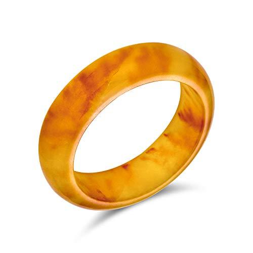 Einfache solide Kuppel Edelstein Ewigkeit stapelbar gefärbt dunkel golden gelb Jade Band Ring für Frauen für Teen August Birthstone