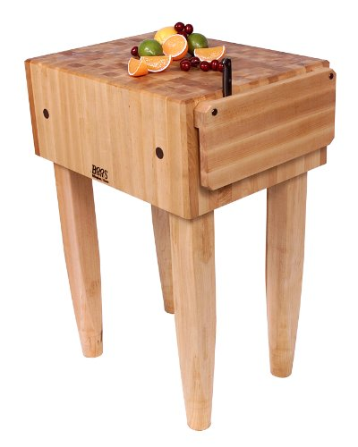 John Boos Pca2 24x18x10  Maple Butcher Block w Knife Holder and Casters,Cherry Stain Legs