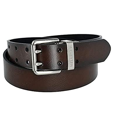 Tommy Hilfiger Mens Reversible Two Hole Double Prong Bridle Belt Brown Black W38