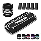 Henkelion 1 Pair 5 Lbs Adjustable Ankle Weights for Women Men Kids with Metal Loop, Strength Training Wrist and Ankle Weights Set for Gym, Fitness Workout, Exercise Leg Weights - Each 5 Lbs Grey