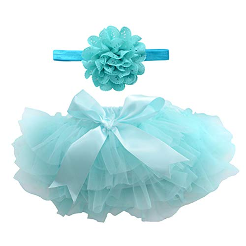 BESTOYARD Tutu - Falda tutú para bebé, con banda para bebé, color azul, talla M
