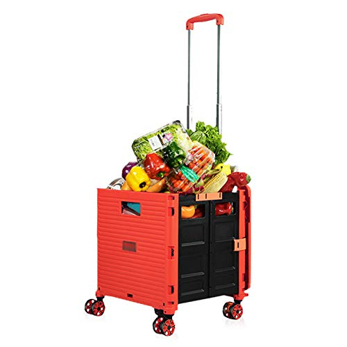HEcSHENG Carrito De Supermercado Plegable con 4 Ruedas, 99 Libras De Capacidad, Carrito De Mano, Varilla Telescópica, Carrito Móvil para Compras, Oficina, Viajes,Rojo