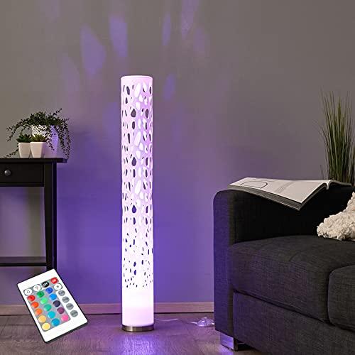 Lindby LED Stehlampe dimmbar mit Fernbedienung | RGB Farbwechsel | Lichtsäule Wohnzimmer | Standleuchte inkl. 1 x GU10 3W RGB LED Leuchtmittel austauschbar