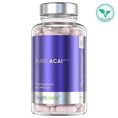 Acai Berry Cápsulas Dosis Alta 1500mg - Suplemento Para Adelgazar, Potente Diurético Antioxidante, Mejora Sistema Inmunólogico, Fuente de Vitamina C y Omega 6 y 9, Controla Colesterol, 60 Cápsulas