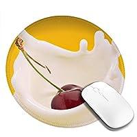 丸型マウスパッド ゲーミングマウスパッド チェリーミルクプリント おしゃれ オフィス自宅兼用 滑り止めゴム底 耐洗い表面 厚地 精密度アップ 光学式マウス対応 20*20cm 厚さ3mm