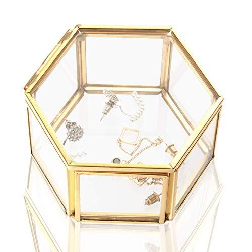 Wohlstand Cajas para Joyas de Vidrio,Caja de Vidrio geométrica Adornos para Anillos Joyas Caja Transparente de Cristal Organizador de Caja para Collares Pulseras Joyas Suculentas Soporte (Oro)