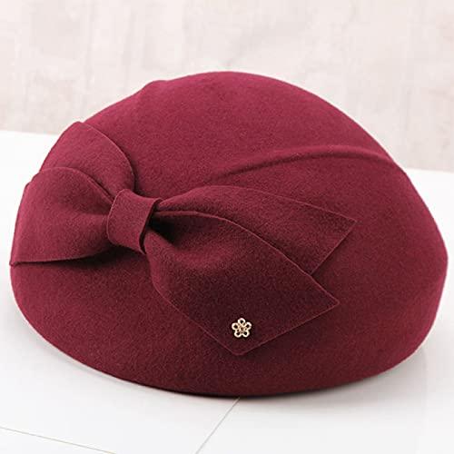 NYSJLONG Sombrero de Mujer Gorro de Lana Gorro de Pajarita de Lana para Mujer Otoño Invierno Sombrero de Boina Sombrero de bombín Sombrero de Calabaza Gorra de cúpula