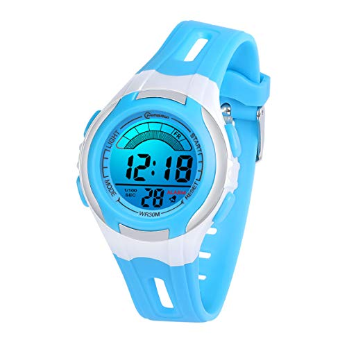 Kinderuhren Mädchen Jungen Digital,7 Farben LED Digital Armbanduhr für Kinder wasserdichte Sport Outdoor Multifunktionale digital Uhren mit Stoppuhr/Alarm Alter 4-15(Blau)