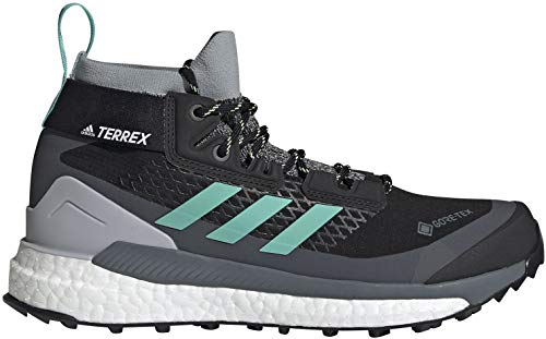 adidas Women's Terrex Free Hiker GTX Hiking Shoe, Core Black/Acid Mint/Hi-Res...