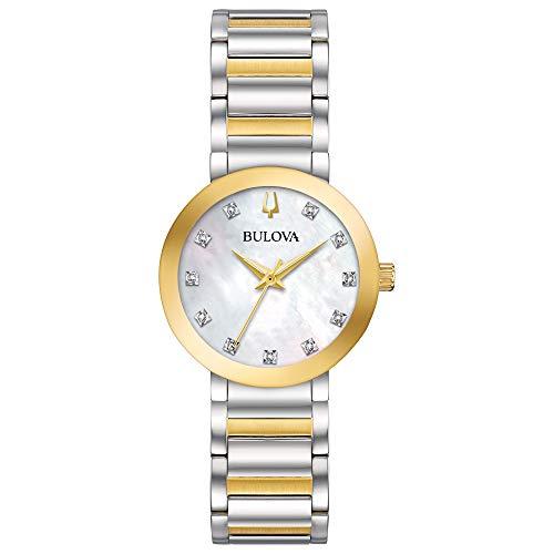 Bulova Modern Quartz Ladies Watch, Stainless Steel Diamond , Two-Tone (Model: 98P180)