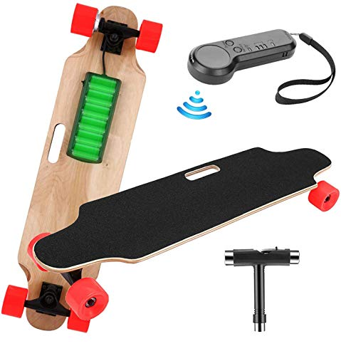 Youth Electric Skateboard Electric Longboard with Wireless Remote Control, 12 MPH Top Speed, 10 Miles Range, 7 Layers Maple Longboard for Adult (Red)