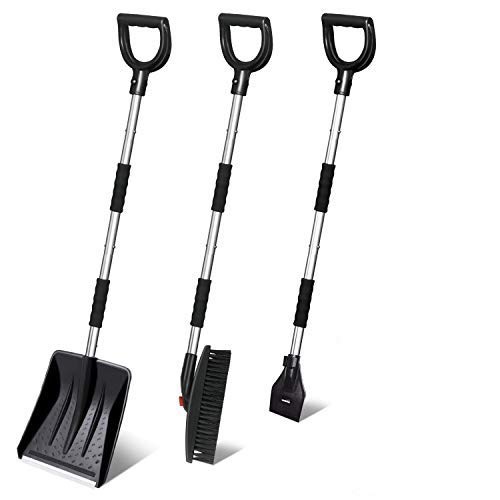 3-in-1Snow Shovel Winter Snow Shovel Set Ice Scraper Snow Shovel Snow Brush Collapsible Portable and Emergency Snow Removal for Driveway