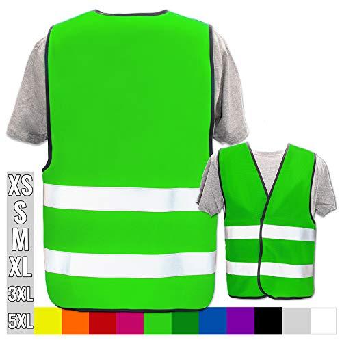 Warnweste Bedruckt mit Ihrem Name Text Bild Logo * echte Reflex-Leuchtstreifen * personalisiertes Design selbst gestalten, Farbe + Größe:Neon Grün (M/L), Warnweste Druckposition:Ohne Druck