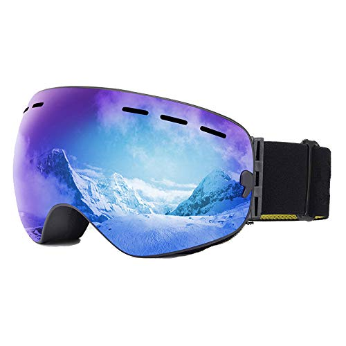 ZXLIFE@@@ Skibril, snowboardbril met extra lange riem, sneeuwveiligheidsbril, voor skiën/snowboarden/motorslee blauw