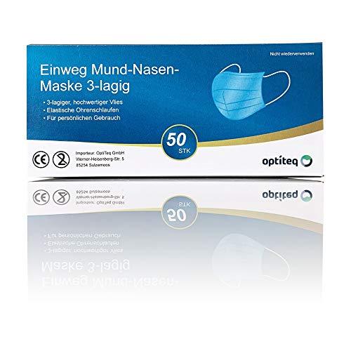 50 Stück OptiTeq Mund-Nasen-Masken 3-lagig Vlies | Partikelfiltermaske | Einwegmaske | Gummiband & Nasenbügel | Versand aus DE