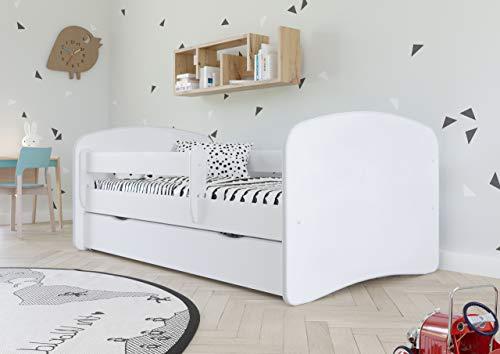 Bjird Kinderbett Jugendbett 70x140 80x160 80x180 Weiß mit Rausfallschutz Schublade und Lattenrost Kinderbetten für Mädchen und Junge - ohne Motiv 180 cm
