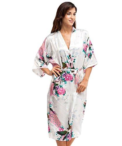 CHENGYANG Damen Morgenmantel Kimono Robe Peacock und Blume Bademantel Nachtwäsche Lange Stil (Weiß, L)
