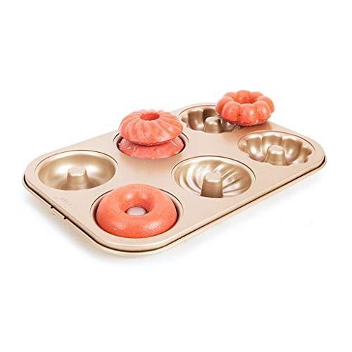Taartblik Donut Mold Cake Pan Non-Stick Cookies Mini leuke Pompoen cakevorm Golden 6 Beker bakvorm Taart Brood Bakplaat