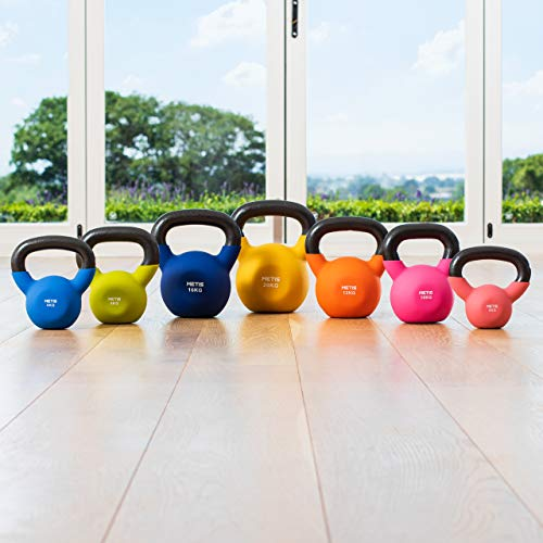 METIS Neoprene Kettlebells (9lbs to 44lbs) | Home Training and Gym Fitness Kettlebells | Kettlebell Hand Weights Sets for Women & Men | Workout Weights (18lbs)