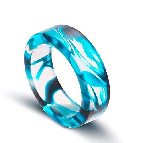 SARUI Ringe für Damen Ringe für Herren Romantischer Tintenmusterring Blutstropfenring Harzring 25 mm blau Glänzend Poliert und die Abgerundete Antiallergisch und Anlaufgeschützt