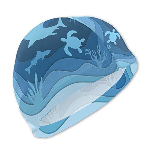Quintion Robeson Cuffia da Nuoto per Bambini Shark Under The Sea Fish Art, Cuffia da Nuoto in Poliestere Personalizzata