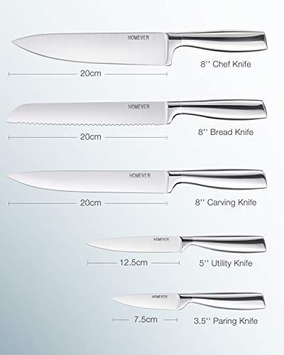 HOMEVER Set Coltelli, Coltelli da Cucina in Acciaio Inossidabile 6 Pezzi, Professionali Coltello Cucina con Ceppo Coltelli