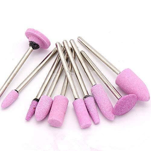 1 Uds, Vástago de 2,35mm, piedra montada abrasiva, cilíndrica para herramientas rotativas, cabezal de muela,pulido profesional, cerámica, rosa, C