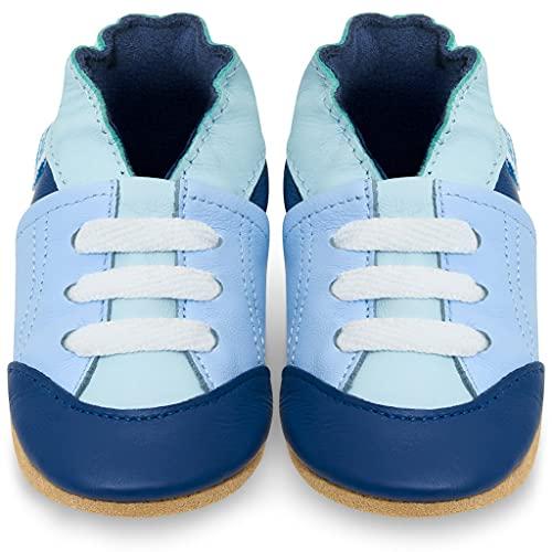 Kruipschoenen Leren Peuterschoentjes voor Jongens - Schoentjes met Zachte Zooltjes - Blauwe Tennisschoenen 2-3 jaar oud