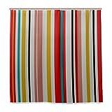ZANSENG Cortina de ducha retro brillante colorido patrón de rayas con ganchos impresión de poliéster cortina de baño decorativa moderna accesorios de baño, 72 pulgadas x 72 pulgadas
