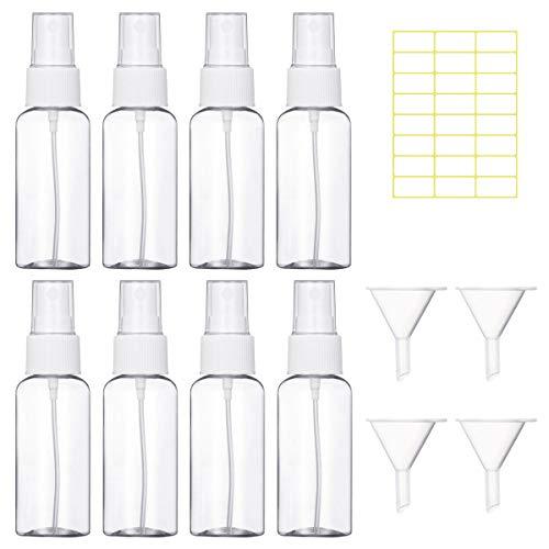 Zerstäuber 8 Stück 30ml Durchsichtig Leere Sprühflasche Plastik Feinen Nebel Flasche Nachfüllbar Parfümzerstäuber mit Trichter und Etikettenaufkleber für Unterwegs, Weiß