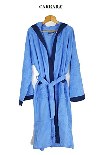 Carrara Bademantel für Damen mit Kapuze aus reiner Baumwolle (hellblau Größe L/XL)