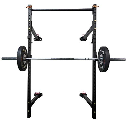 Titan T-3 Series Tall Folding Power Rack 41 Depth for Pull-ups, Squats, and Strength Training