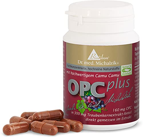 OPC Plus nach Dr. med. Michalzik - 72 vegane Kapseln - 300 mg Extrakt aus Vitis vinifera - 160 mg OPC 50 mg reines CamuCamu Extrakt (Vitamin C) je Kapsel - ohne Zusatzstoffe - von BIOTIKON®