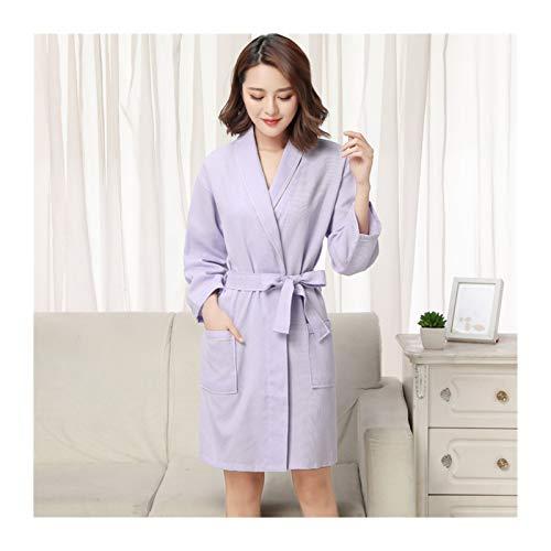 MGHN Bata de baño 100% algodón Waffle Bathrobes Hotel Habitaciones de huéspedes Hombres y Mujeres absorbentes Bathrobes Verano túnica Delgada Casual Ropa (Color : Light Purple, Size : Large)