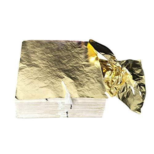 100 stks Art Craft Ontwerp Papier Vergulden Imitatie Goud Zilver Koper Folie Papieren DIY Craft Decor Leaf Bladeren Vellen 14x14 cm, Goud, China