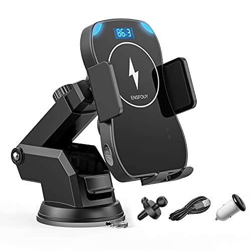 ENSFOUY Car Wireless Phone Charger Bluetooth FM Transmitter, 10W Qi Fast Charging Mount Auto-Clamping Stand for iPhone 11 11 Pro 11 Pro Max Xs MAX XS XR X 8 8+, Samsung Galaxy S10 S10+ S9 S9+ S8 S8+