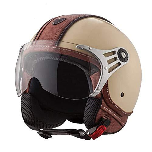Casco Moto Jet para Hombres y Mujeres Estilo Retro Casco de Moto Medio Abierto, Media Cara Casco De Protección Para Motocicleta Scooter Con Visera Casco Medio, ECE Homologado H,XL