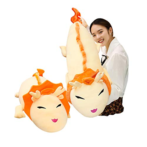 Hofun4U Giant Dragon Plush Pillow, Dragon Stuffed Animals Doll Toy, Soft Giant Dragon Pillow Home Decoration Christmas Birthday Gift for Adults Kids Girls Boys (60 Inches,Orange)