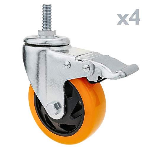 PrimeMatik - Rueda pivotante Industrial de Poliuretano con Freno 75 mm M12 4-Pack