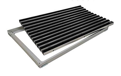 EMCO Eingangsmatte DIPLOMAT Bürsten initial schwarz 22mm + ALU Rahmen Schmutzfangmatte Fußabtreter Antirutschmatte, Größe:600 x 400 mm