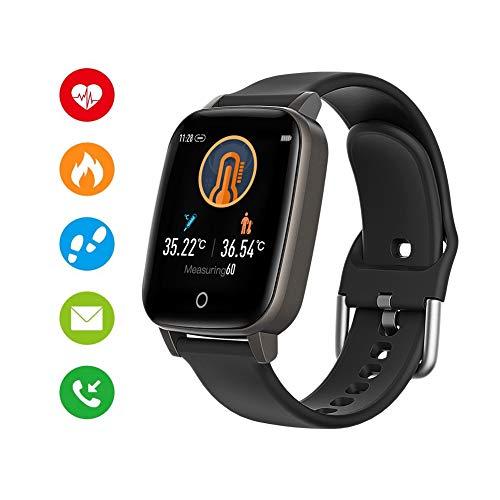 Activity Tracker Orologio Fitness, Touchscreen A Colori, Monitoraggio Battito Cardiaco, Misurazione della Temperatura, Monitor del Sonno, GPS Integrato, Resistente all'Acqua,Nero