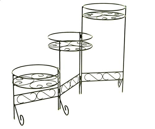 Support de pot de fleurs en cascade à 3 étages en métal noir (Design 1)