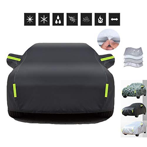 HWHCZ Autoplanen Car-Cover, 100{be670d405933f0aecb6fd90d29d24f01a7346630721eb6fd8201c2961dca0439} wasserdicht und hitzebeständige Autoabdeckung, kompatibel mit Autoabdeckung Peugeot 107,4-Schicht Baumwollfutter Autoabdeckung (Color : B)