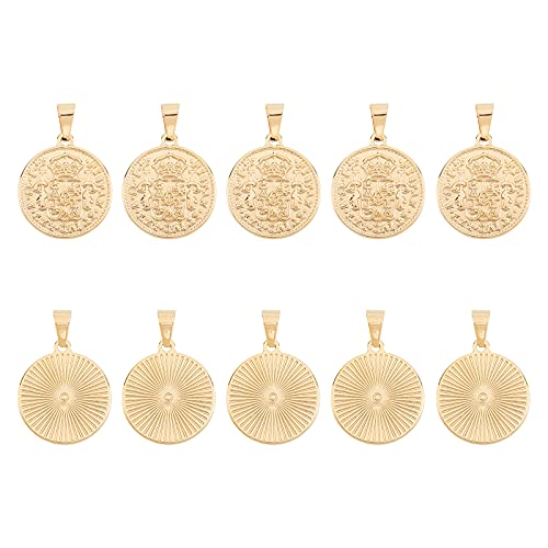 UNICRAFTALE 10PCS Golden Flat Round 304 Stainless Steel Coin Pendants Hispan Et Ind Rex Coin Pendant Charms Large Hole Charms for Jewelry Findings Making 29x25x2.5mm, Hole 5x7.5mm
