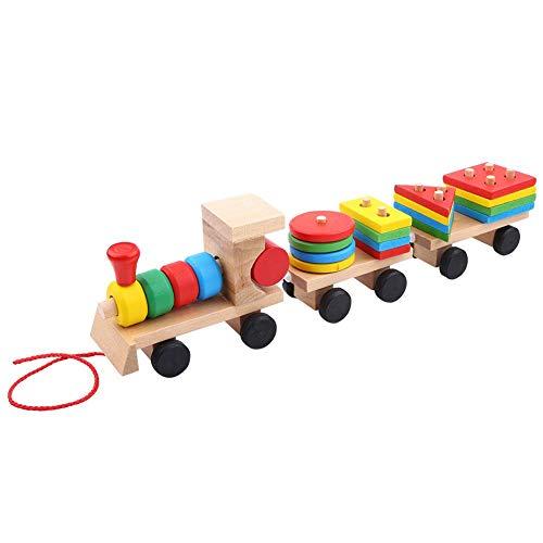 Train empilable, train jouet empilable en bois avec trieur de forme et blocs empilables Train Pull Toy pour tout-petits et enfants