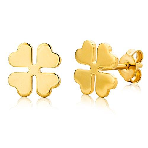 Miore - Orecchini da donna a forma di quadrifoglio, 14 carati (oro giallo 85)