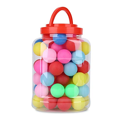 VGEBY Pelotas de Ping Pong de Colores, 60 unids/Set Pelotas de Ping Pong de 40 mm Pelotas de Tenis de Mesa Ligeras sin Costuras de Colores Mezclados con Tarro de plástico